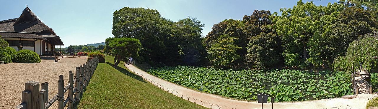 s-20150526 後楽園今日の延養亭と花葉の池の園内ワイド風景 (1)