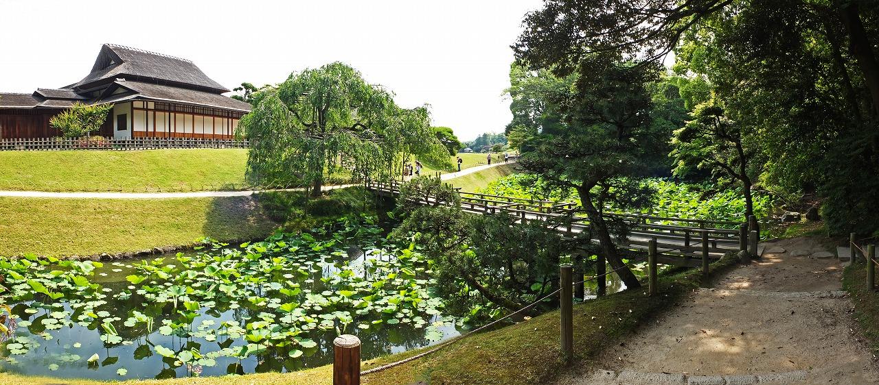 s-20150529 後楽園今日の園内栄唱の間と花葉の池のワイド風景 (1)