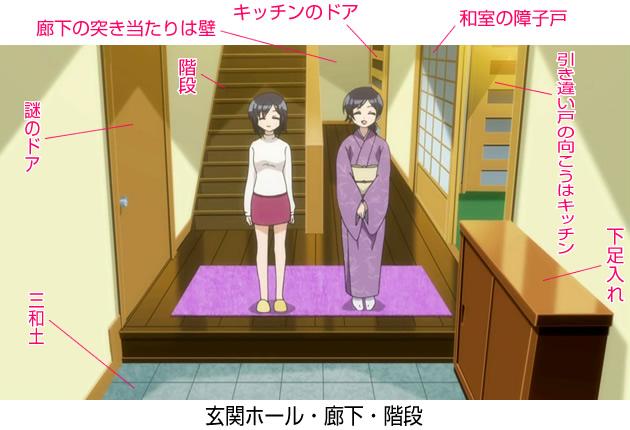 【森田さんは無口】森田家の間取り 1階 玄関ホール・階段・廊下