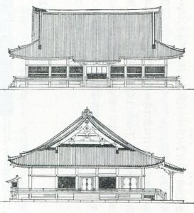 桃山期(仁和寺)紫宸殿立面図
