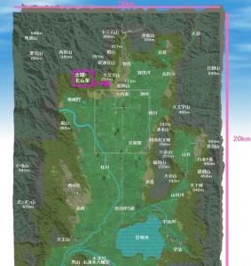 京都盆地3D図