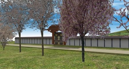 桜並木沿いの門