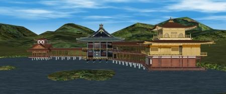 北山第3D地形と金閣等建物