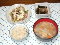 5/29 夕食 イカとキャベツの温サラダ、身欠きにしんの煮物、豚汁、鯛めし