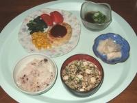 6/2 夕食 豆腐ハンバーグ、もずく酢、べったら漬け、豆腐と干しエノキの味噌汁、雑穀ごはん