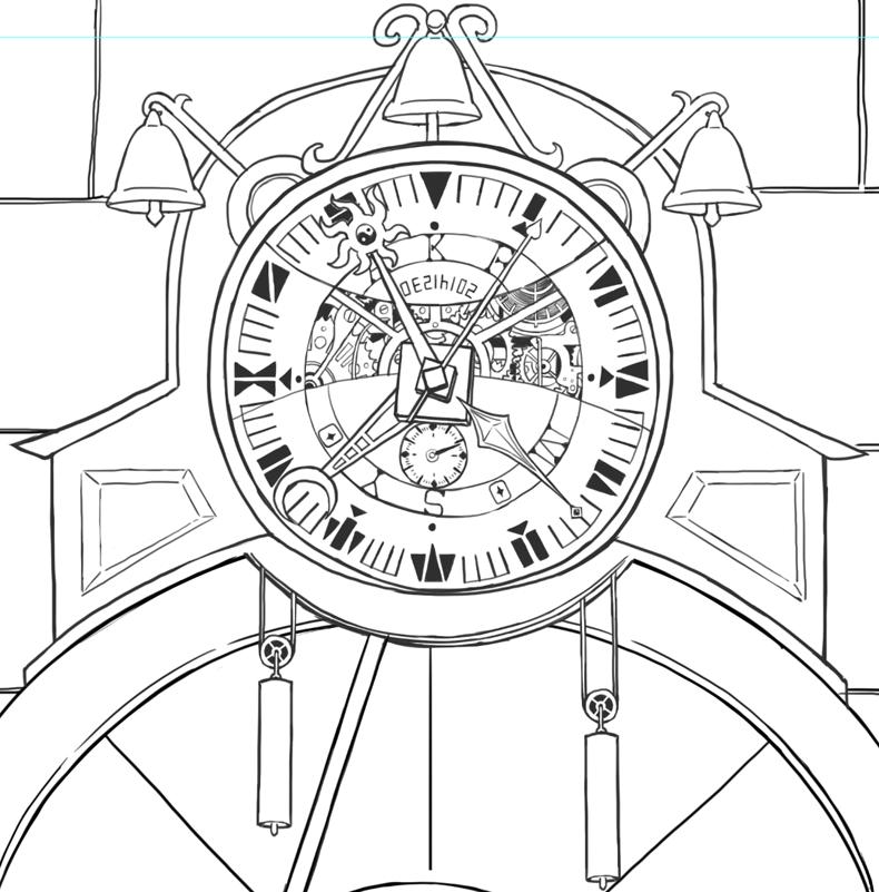 時計歯車描いた