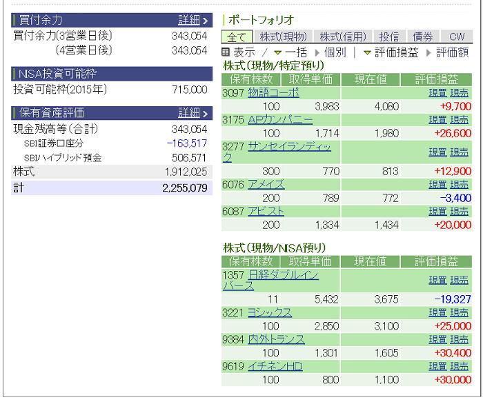 評価損益20150131