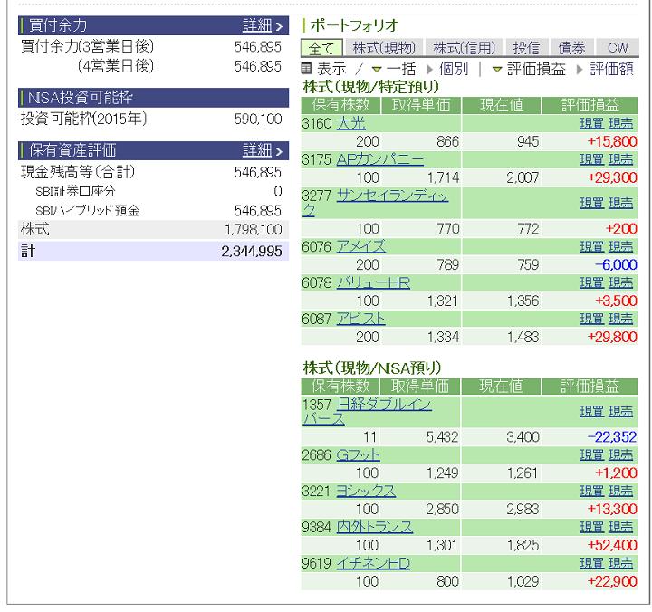 評価損益20150221