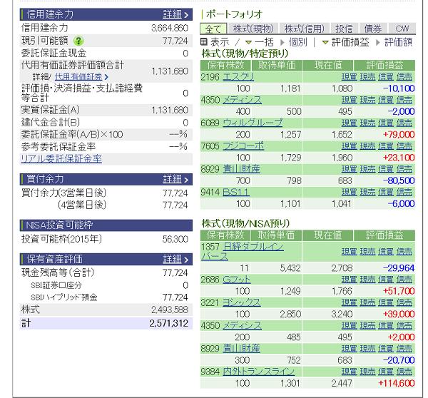 評価損益20150523