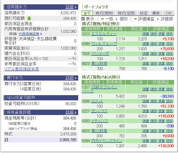 評価損益20150613