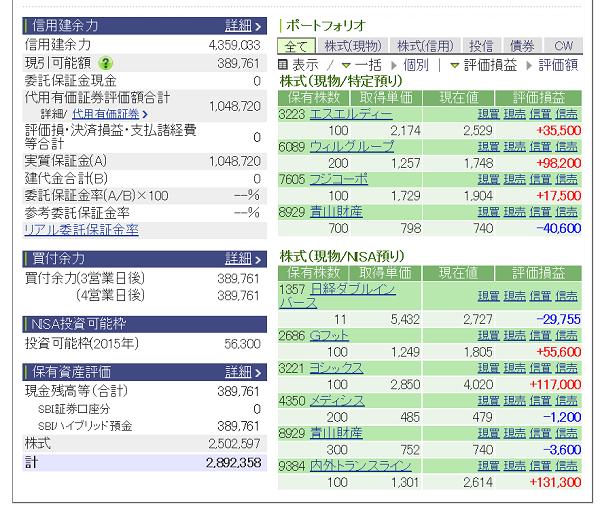 評価損益20150620