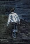 夜道を歩く少年