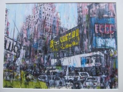 ライオンキングの看板が見えるタイムズスクエア風景(山田画)