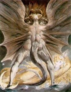 巨大なレッド・ドラゴンと日をまとう女
