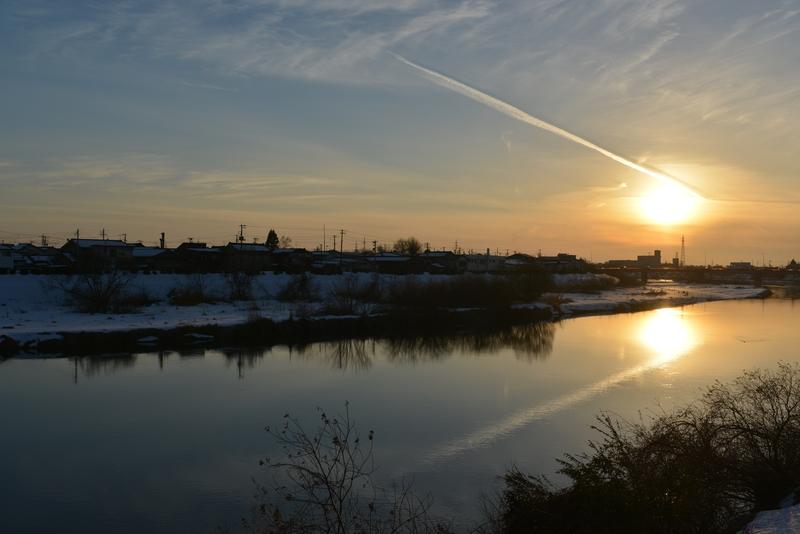 冬晴れ 河-3