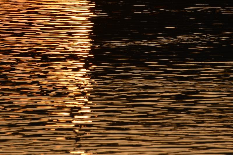 夕暮れ時の川面-3