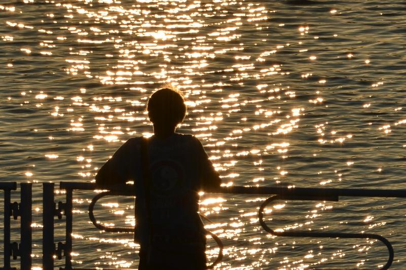 夕陽 堰にて-3