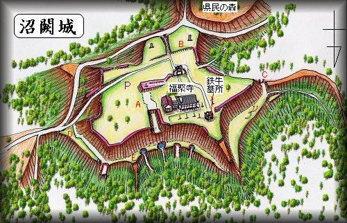沼闕城縄張り図