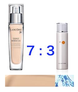 リキッドファンデと化粧水は7:3の割合で混ぜる