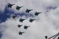 Su-27、Su-34、MiG-29の編隊飛行