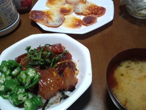 マグロ漬け丼&カチョカヴァッロのソテー