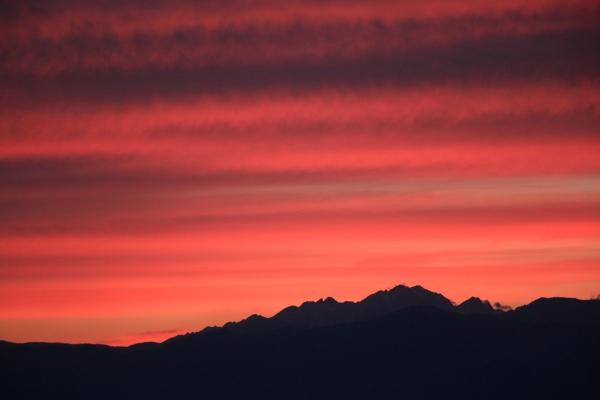 穂高連峰の夕焼け
