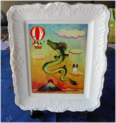 絵皿ー龍とパピヨン