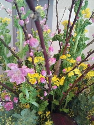 ロビーの季節花飾り