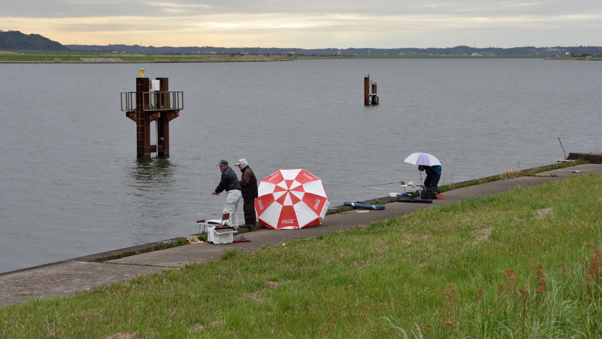 平日にも釣り人集う常陸川左岸