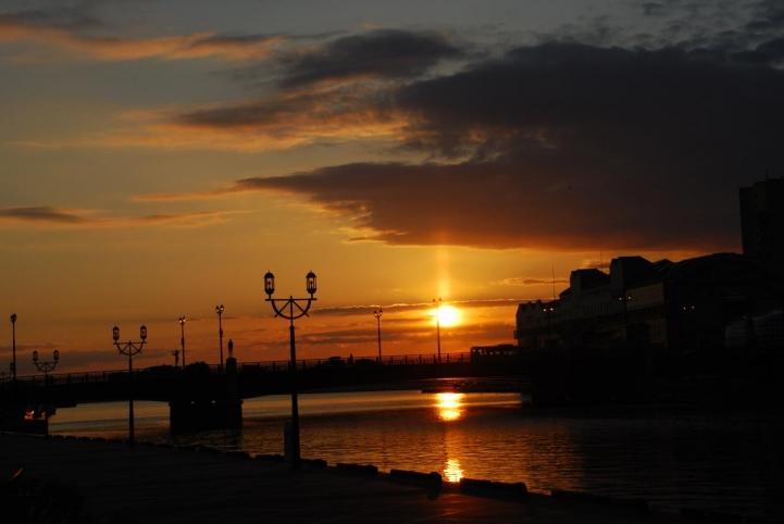 幣舞橋からの夕日・・・