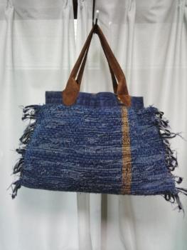 ジーンズの裂き織りバッグ試作