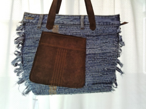 ジーンズの裂き織りバッグ、2つ目