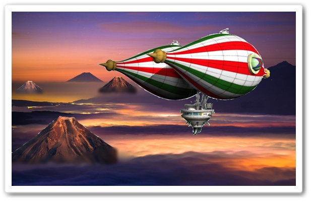 雲海の上を飛ぶ飛行船