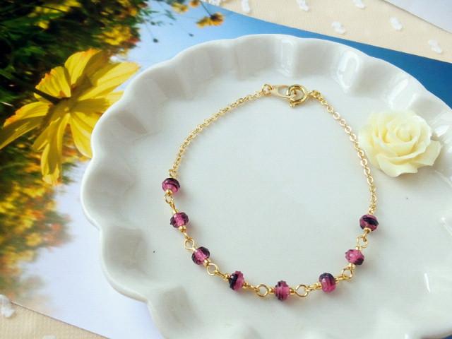 紫×黒チェコガラスブレスレット1