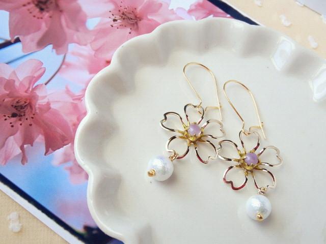 藤桜とコットンパールのキドニーピアス1