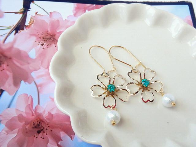 葉桜とコットンパールのキドニーピアス1