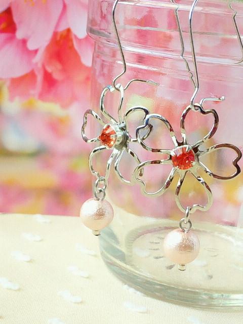 桜とコットンパールのキドニーピアスRパパラチア3