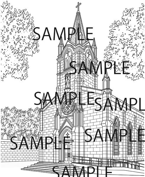 漫画背景素材「教会」イラスト