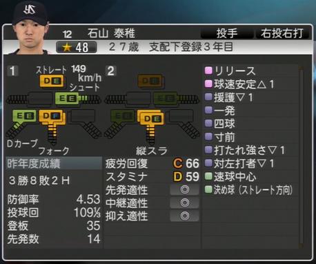 石山秦雄 プロ野球スピリッツ2015