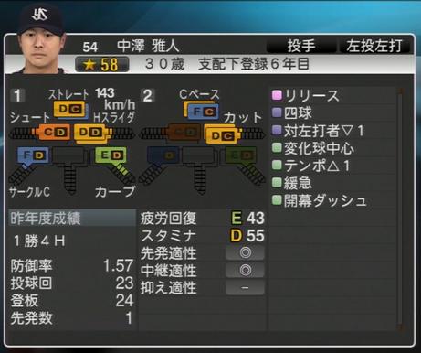中澤雅人 プロ野球スピリッツ2015
