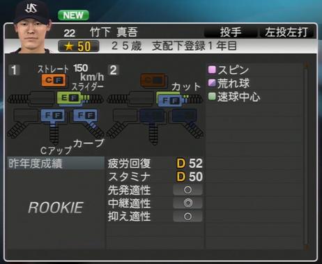 竹下真吾 プロ野球スピリッツ2015