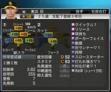 東浜巨 プロ野球スピリッツ2015