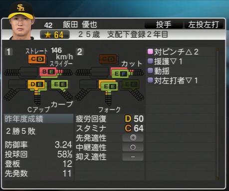 飯田雄也 プロ野球スピリッツ2015