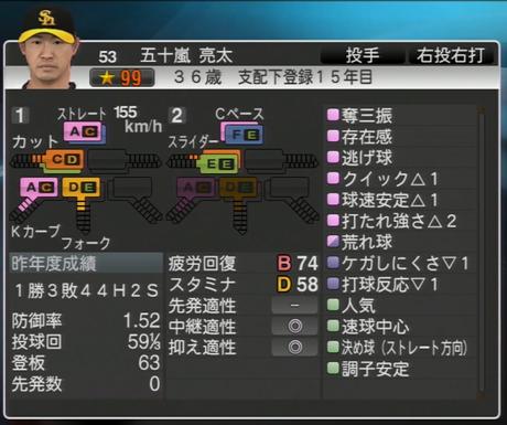 五十嵐亮太 プロ野球スピリッツ2015