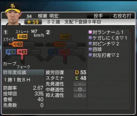 柳瀬明宏 プロ野球スピリッツ2015