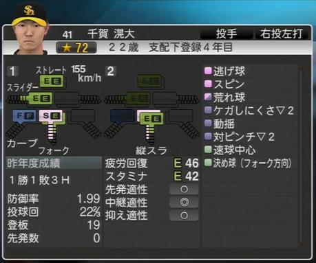 千賀滉大 プロ野球スピリッツ2015