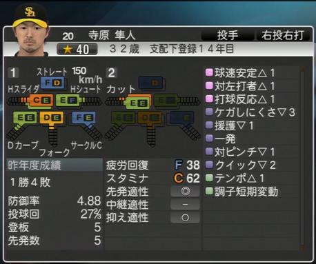寺原隼人 プロ野球スピリッツ2015