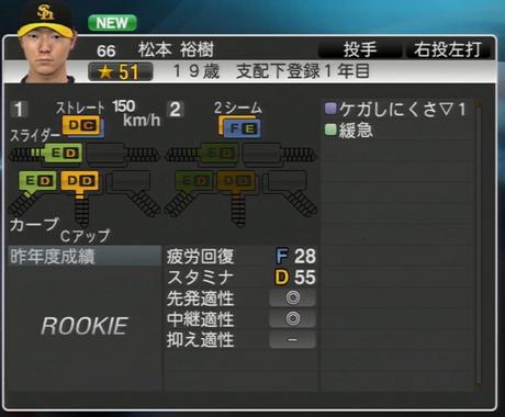 松本裕樹 プロ野球スピリッツ2015 ver1.06
