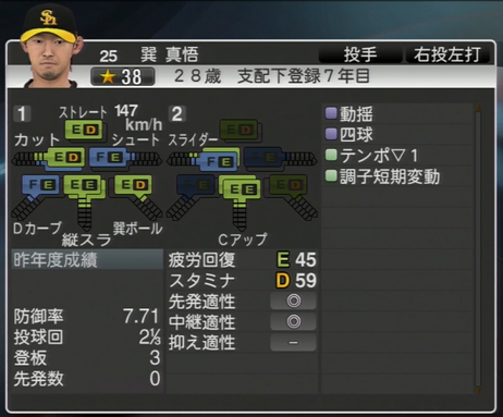 巽真悟 プロ野球スピリッツ2015 ver1.065
