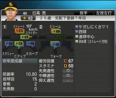 日高亮 プロ野球スピリッツ2015